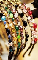 Color block h4007 sparkling multi-colored irregular crystal gold hoop spirally-wound