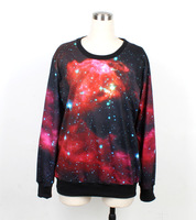 Novel Girl Loose  Galaxy Space Digital Printed Crewneck Pullover Hoodies Fashion new design Sweater Free Shipping WY-1003