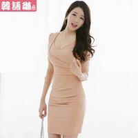 2013 autumn and winter new arrival ol women's slim hip slim long-sleeve basic autumn one-piece dress
