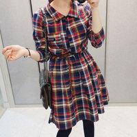 Clothing women's 2013 fashion plaid slim autumn long-sleeve dress