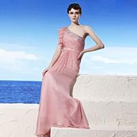 Creative tocsins formal dress Pink one shoulder formal dress luxury rhinestone formal dress sweet long paragraph 56923 thin