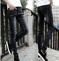 Spring 2014 men's clothing boys jeans male elastic slim skinny pants black gray