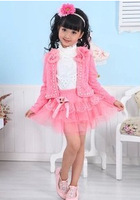 Free shipping Child set 2014 autumn outerwear + t-shirt + puff skirt gril three piece set.