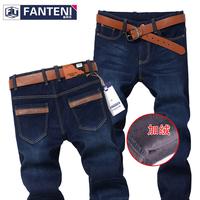 Plus velvet thickening jeans male elastic 2013 winter male straight denim trousers