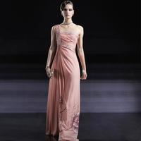 Creative fox pink one shoulder formal dress bride evening dress pink bride dress evening dress banquet 56680