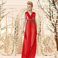 Creative fox fashion romantic lace embroidered evening dress fashion bridal formal dress toast 30335
