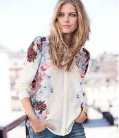 new 2014 women's Retro Print chiffon shirt / long sleeve tutn-down collar blouse to Russian free shipping