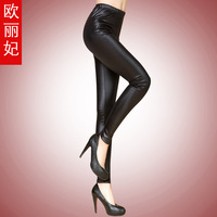 Autumn and winter leather legging pants ankle length trousers women's skinny pants trousers thin