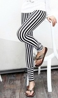 2014 Spring&Summer Women's Stripe Legging Patchwork Slim one size Pencil Pants Trousers, Black and white,