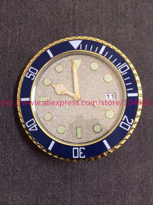 New arrive super luxury full diamond high quality wall clock branded Rlx SUB blue and gold wall clock trendy quartz wall clocks(China (Mainland))