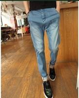Light blue water wash vintage whisker pocket denim trousers male slim