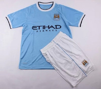 Cheap Children Soccer Shirts & Shorts 2013 -14 Manchester City Embroidery Logo @ Player Version Blue Jersey Kits for Kids