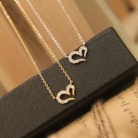 24pcs/lot Lowest Price Fashion Rhinestone Sweet Heart Girl Necklace MN171 Magi Jewelry