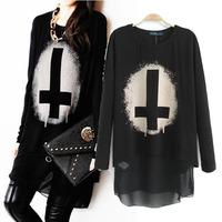Chiffon printing T shirt 2014 spring fashion cross pattern cotton patchwork double layer long sleeve black shirt free shipping