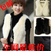 Autumn and winter fur vest short design women's fox fur waistcoat vest fashion vest medium-long