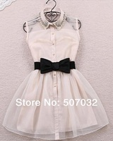 black white Bow pearl diamond small lapel gauze waist tutu one-piece dress 2 color 2 size hot sell d392