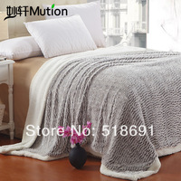 Textile berber fleece wool blanket quality fashion double layer face solid color thickening blanket single double nap blanket
