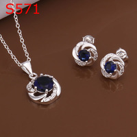 925 silver jewelry set, fashion jewelry,Nickle free antiallergic silver fashion jewelry set KDS571 dvf bhcv