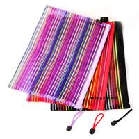 1 X High Quality A4 Colored Stripe Cloth Bags Zipper Storage Bag(RANDOM COLOR)