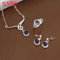 925 silver jewelry set, fashion jewelry,Nickle free antiallergic silver fashion jewelry set S596 uky ppcu