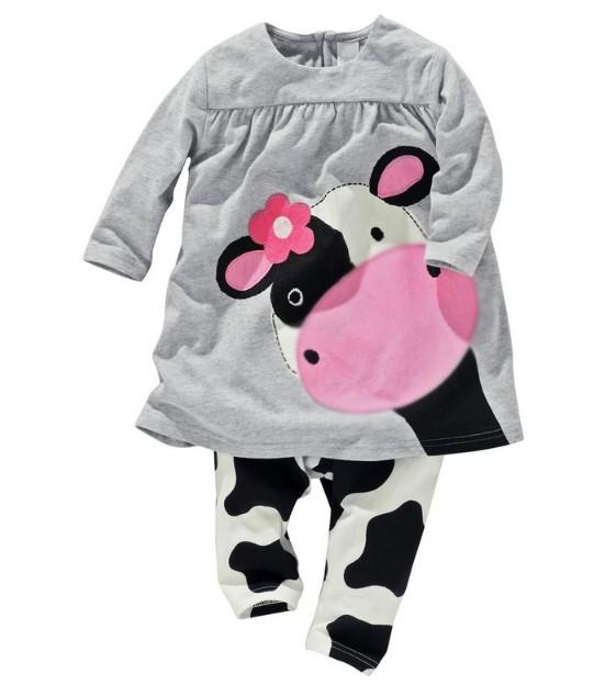Vendita al dettaglio dei bambini bambine vestiti piccola mucca modella abiti 100% cotone casual lungo- maniche lunghe t- shirt+pants tuta tuta