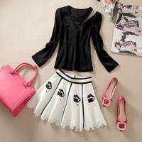 Free shipping! 0212 spring and summer irregular top bust skirt twinset silk set female 65a220