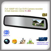 3 inch rearview mirror NOVATEK HD Car 1080P DVR record Camera 120degree wide angle lens and G-sensor