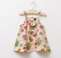 CS4024  free shipping  girls cotton  print floral  summer vest dandelion print 6pcs/lot