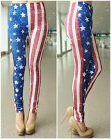 P135  Colorful US Flag Stars Painting Pattern Print Ninth Legging High Waist Elasticity Skinny Pants Fashion Women Leggings