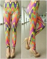 P133  EUROPE Colorful Colorful Painting Pattern Print Ninth Legging High Waist Elasticity Skinny Pants Fashion Women Leggings