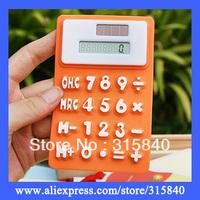 100pcs New 2014 Fashion 8 Digits MIni Solar Calculator Silica Gel Soft School Keyboard Calculator --  OFE02 Free Shipping