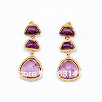 Gold Plated Purple Resin Earrings For Women 2014 Fashion Jewelry Free Shipping