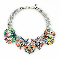 Free Shipping Gun Metal Plated Shourouk Multi Color Resin Braided Cord Chunky Necklace 2014 Fashion Jewelry