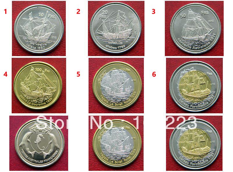 Newest coins10/20/50/100/200/500 Francs - Bassas da India French Southern Territories BI-METAL SAIL SHIP coin 6pcs/lot(China (Mainland))