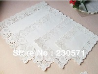 SS016010 4 Mixed Sizes Rectangle Lace Flower Paper Doilies Placemat Crafts for DIY Scrapbooking/Card Making/Wedding Decoration