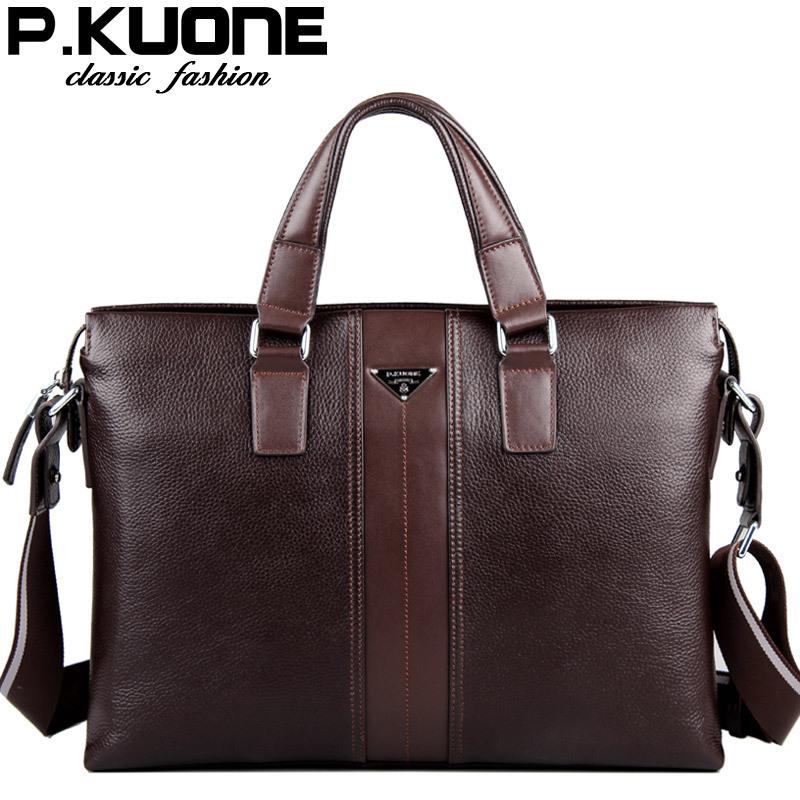 P.Kuone designer brand 100% cowhide men genuine leather handbags man leather business briefcase laptop bag men messenger bags(China (Mainland))
