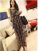 Fast&Free Shipping 2014 New Promotion Plus Size Chiffon Print Bohemian Casual Beach Dress Women Dresses For Summer ClothingB2201