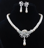 Fashion  Wedding  Bridesmaid  Statement  Jewelry  Simulated  Pearl  Crystal Flower  Pendant  Necklace Earring  Sets