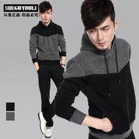 Male sheguyouli plus velvet sweatshirt pullover with a hood coat slim men's clothing hoodie b1