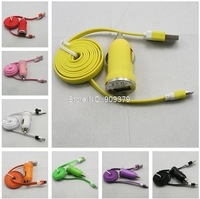 2 in1 Mini Car Charger+Noodle  USB Data Cable kit for iphone 5G 5S