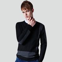 Sheguyouli winter slim vintage sweater male o-neck patchwork sweater pullover