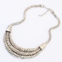 2014 Newest Fashion Jewelry Hot Women Exaggerated Personality Half Monn Shape Alloy Silver Bib Necklace Free Shipping#101533