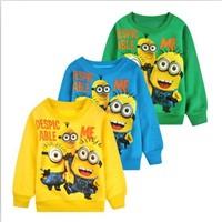 New 1pcs baby boys girl Cartoon design round minion collar terry children wear Hoodies Sweatshirts Children's clothes ATX014