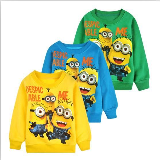 New 1pcs baby boys girl Cartoon design round minion collar fleece children wear Hoodies Sweatshirts Children's clothes ATX014(China (Mainland))
