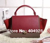 2014 new  wine  Brick red smile face handbag 3342 Bat Pack fashion luxury guaranteed 100% genuine  original leather new fashion