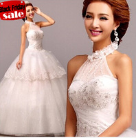 sexy halter embroidery wedding dress new  2014 romantic backless crytal bridal gown 481