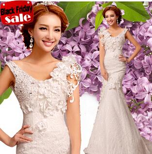 Crytal appliques abito da sposa sirena vestidos de novia 2014 estate sexy party girl abiti da sposa fiore. 2283 y