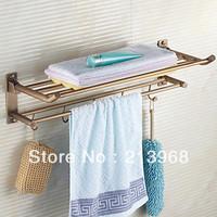 Antique Brass Multifunctional Bathroom Towel Rack