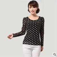 S-6XL12014 autumn women's plus size  basic shirt puff sleeve o-neck long-sleeve basic t-shirt female/New fashion/Free shipping