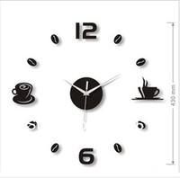Hot sale! Art Acrylic Style Coffee and Tea Wall Clocks  DIY clock for Wall Decoration 1pc  Black